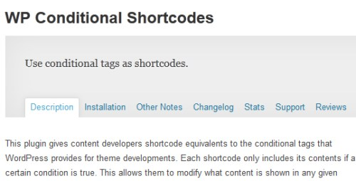 WP Conditional Shortcodes