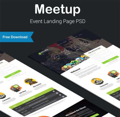 Meetup - Free Responsive Event HTML Landing Page
