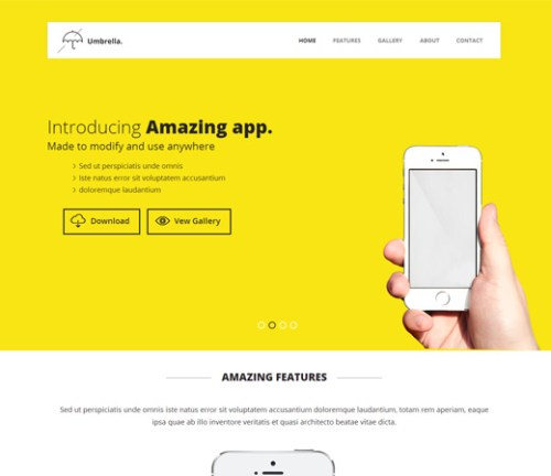 Umbrella - Mobile App Based Flat Bootstrap Template