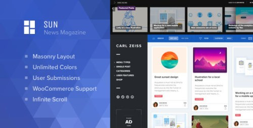Sun - Masonry Grid WordPress Magazine Theme