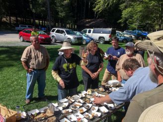 Gary Lincoff giving a table talk of finds from Cook Forest state park.. By Richard Jacob
