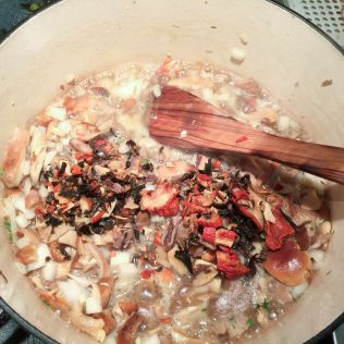 Add dried mushrooms along with soaking liquid. By Richard Jacob