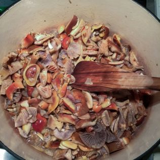 Mushrooms frying in the pan. By Richard Jacob