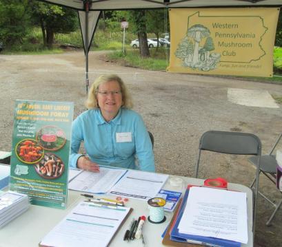 Diane Stuart at Registration. By Cecily Franklin