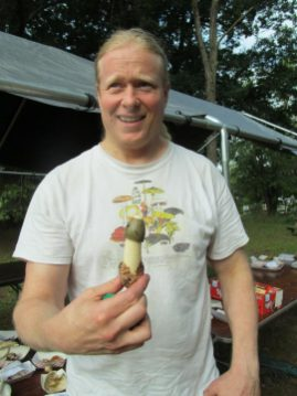 Garrett with Stinkhorn from Cook Forest. By Cecily Franklin