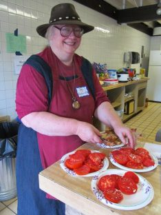 Judy Slices Tomatoes. By Cecily Franklin