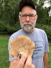 Bob displays the large Hedgehog mushroom. By Fluff Berger