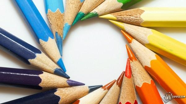 Скачать обои Цветные карандаши (Круг, Цвет, Карандаши) для ...