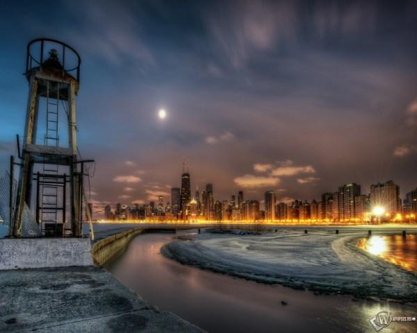 Скачать обои Чикаго Ночной город Вода Дома Чикаго для