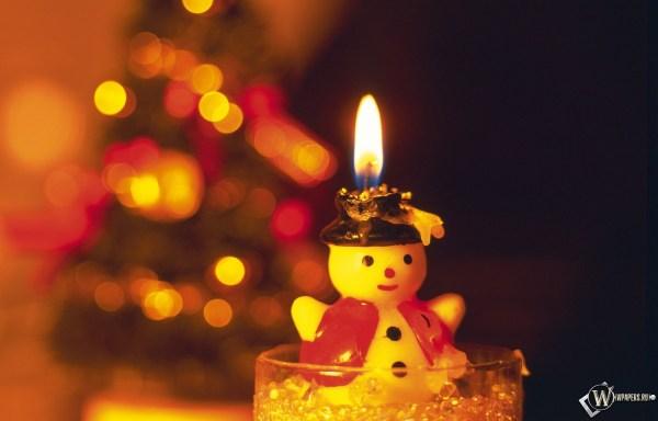 Скачать обои Свеча-снеговик (Свеча, Новый год, Снеговик ...