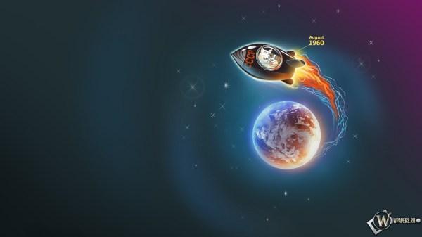 Скачать обои Белка и стрелка (Ракета, Земля, Планета) для ...