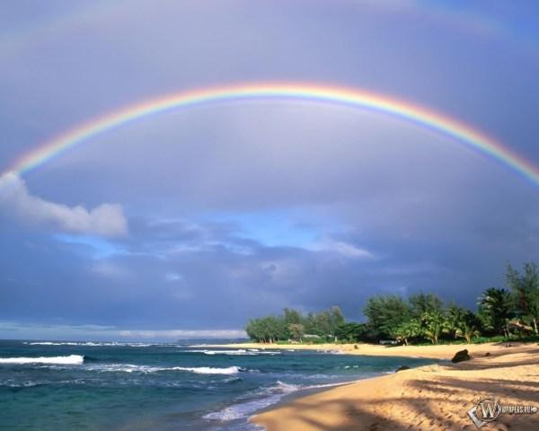 Скачать обои Двойная радуга (Вода, Природа, Океан, Небо ...
