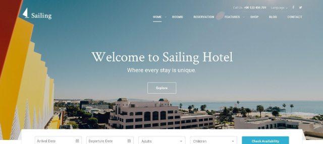 Sailing - Amazing Hotel WordPress Theme