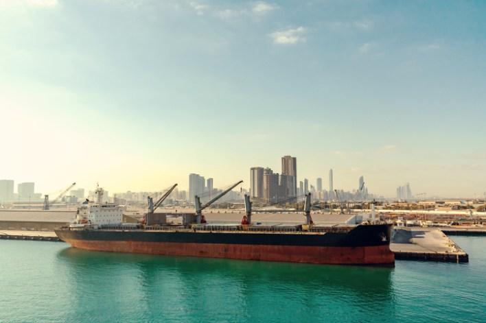 Cargo ship in Abu Dhabi