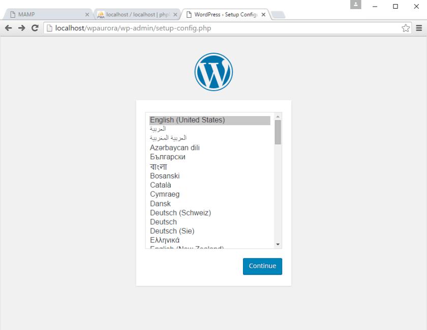 korak 1 instalacije WordPress-a