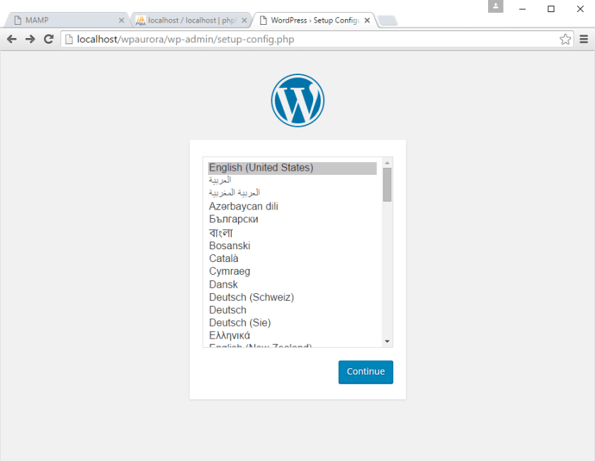 korak 1 instalacije WordPress-a