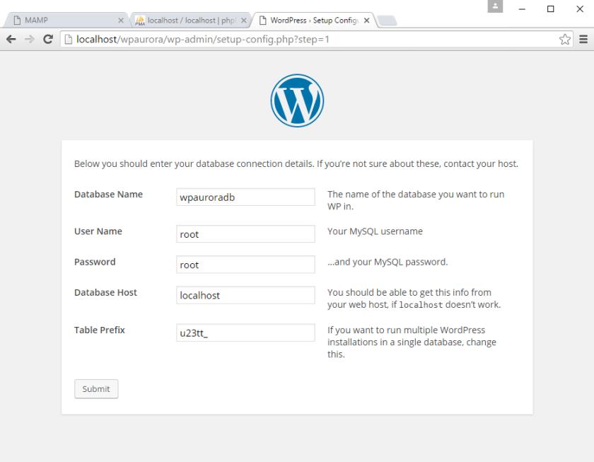 korak 3 instalacije WordPress-a
