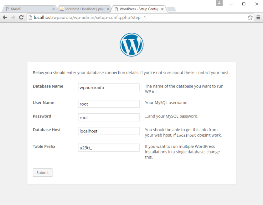 korak 3 instalacije WordPress-a