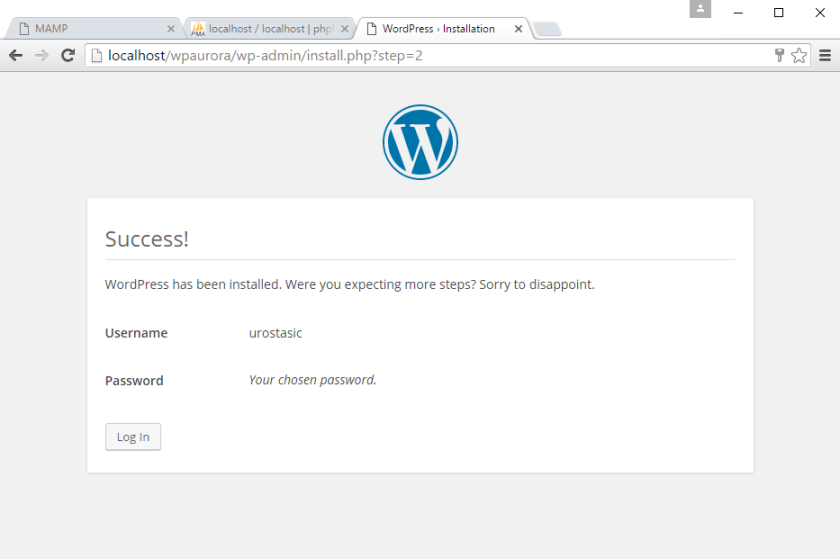 korak 6 instalacije WordPress-a