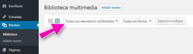 Biblioteca de medio de WordPress