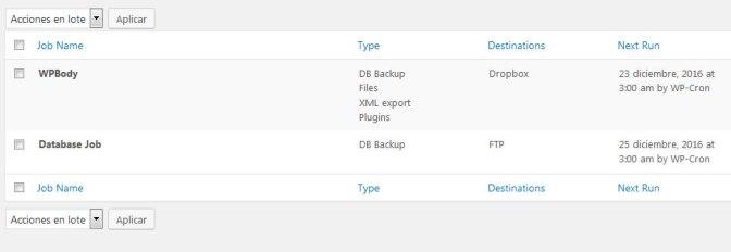 Crear varios jobs en backwpup en wordpress