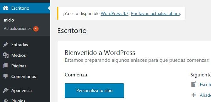 Actualizacion de wordpress a la ultima version disponible