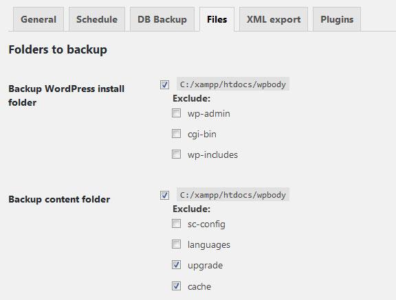 seleccionar archivos para hacer backup en wordpress