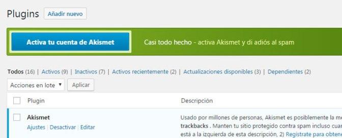 Activa tu cuenta Akismet para proteger wordpress contra comentarios spam