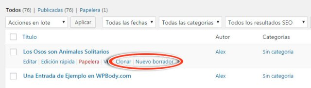 Enlaces de Duplicate Post para clonar entrada en WordPress