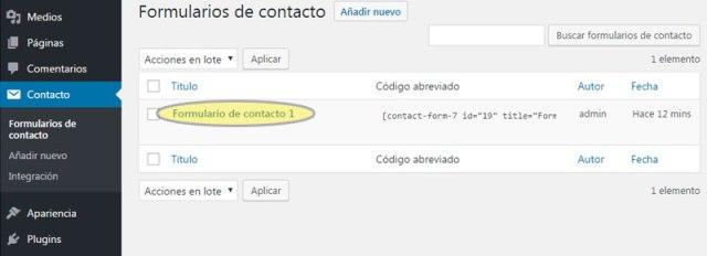 Gestor de formularios de contacto creados con Contact Form 7