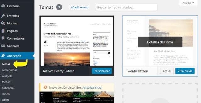 Gestor de temas instalados en WordPress en el Dashboard
