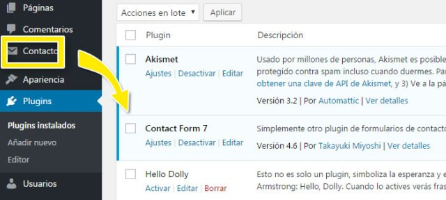 Instalar plugin contact form 7 en WordPress