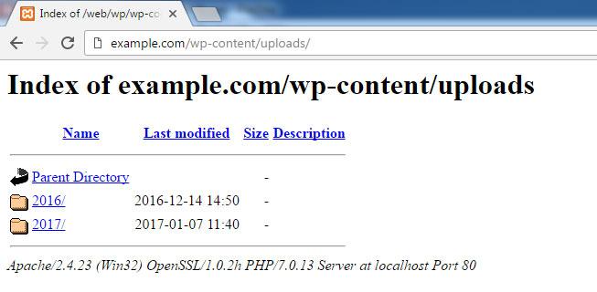 Permitir Navegar los directorios de WordPress implica riesgo de ser hackeado