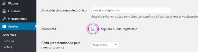 Permitir registrar usuarios nuevos en WordPress