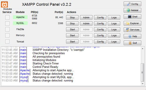 Activar servidor Apache y MySQL en XAMPP para instalar WordPress en ordenador