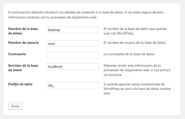 Conectarse a la base de datos para instalar WordPress por XAMPP