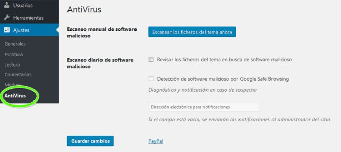 Configurar plugin AntiVirus para proteger sitio web WordPress contra malware y virus