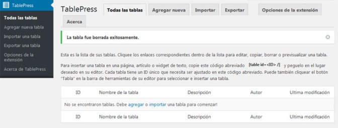 Crear tablas en WordPress con plugin TablePress