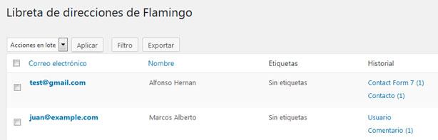 Libreta de direcciones en el plugin Flamingo de WordPress