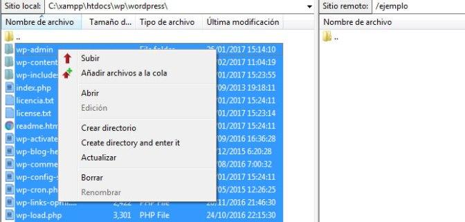 Subir paquete de archivos de WordPress por FTP para crear un sitio web