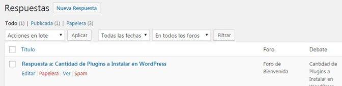 gestionar y controlar las respuestas de debate en plugin de foros bbPress en WordPress