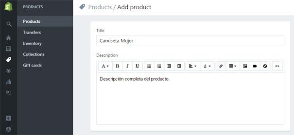 Agregar nuevo producto en tienda virtual con Shopify