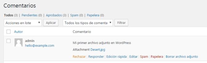Borrar archivos adjuntos en comentarios de WordPress