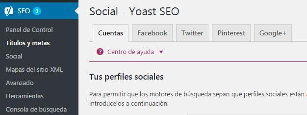 Perfiles sociales en plugin Yoast SEO