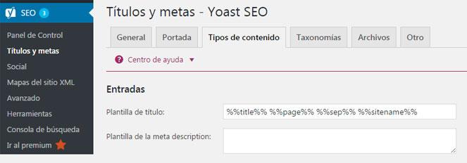Personalizar estructura de enlaces de entradas en plugin Yoast SEO