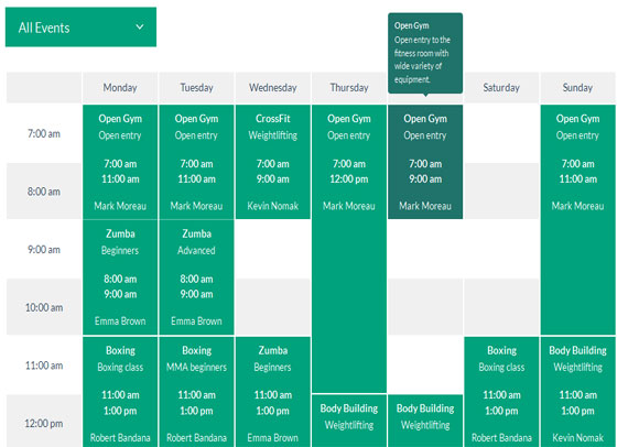 Plugin Timetable Responsive Schedule para WordPress