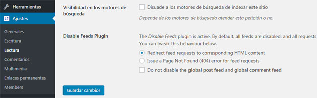 Deshabilitar RSS en los feeds de WordPress