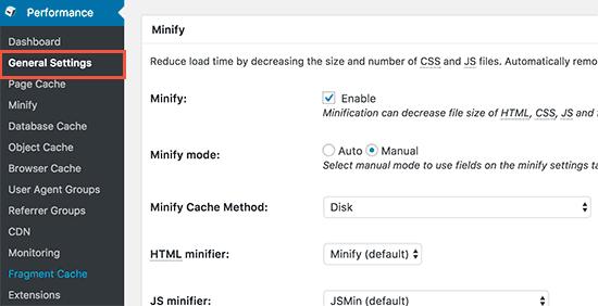 Minificar archivos javascript y css en W3 Total Cache en WordPress