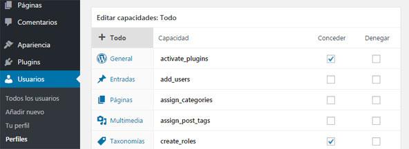 Personalizar capacidades de roles en WordPress