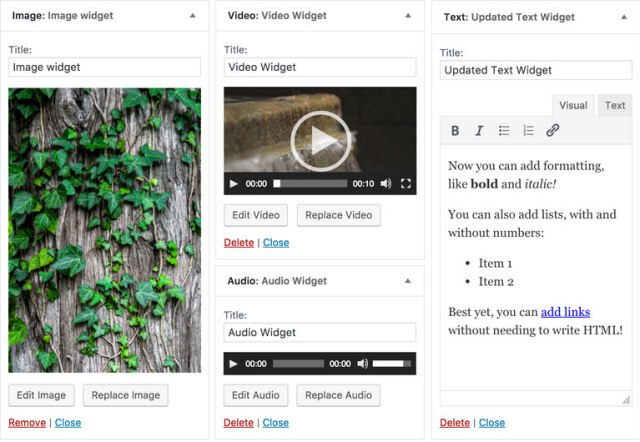 caracteristicas de widgets de texto audio y video en wordpress 4.8